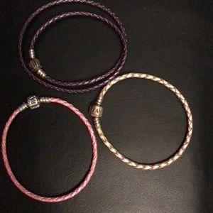 Three leather pandora bracelet's